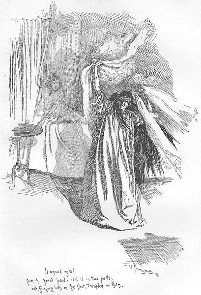 An illustration of Bertha Mason from the second edition of Jane Eyre. The image says that it is public domain and I got it from Wikimedia Commons so I think it is alright to use this image. I am not sure though?